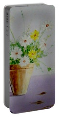 Portable Battery Charger featuring the painting Daisies In Pot by Jamie Frier