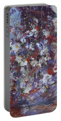 Portable Battery Charger featuring the painting Daisies In Purple by Avonelle Kelsey