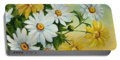 Portable Battery Charger featuring the painting Daisies In The Sky by Sorin Apostolescu