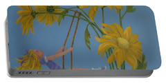 Portable Battery Charger featuring the painting Daisy Days by Karen Ilari
