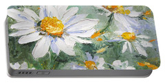 Daisy Delight Palette Knife Painting Portable Battery Charger by Chris Hobel
