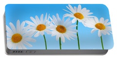 Daisy Flowers On Blue Portable Battery Charger