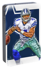 Dak Prescott Dallas Cowboys Oil Art Portable Battery Charger by Joe Hamilton