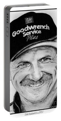Portable Battery Charger featuring the drawing Dale Earnhardt Sr In 2001 by J McCombie