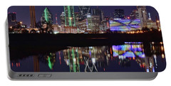 Dallas Reflecting At Night Portable Battery Charger by Frozen in Time Fine Art Photography