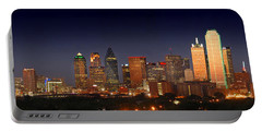 Dallas Skyline At Dusk  Portable Battery Charger