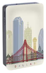 Dallas Skyline Poster Portable Battery Charger by Pablo Romero