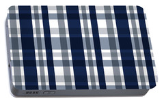 Portable Battery Charger featuring the digital art Dallas Sports Fan Navy Blue Silver Plaid Striped by Shelley Neff