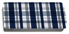 Dallas Sports Fan Navy Blue Silver Plaid Striped Portable Battery Charger