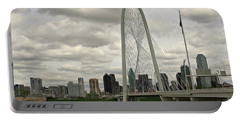 Portable Battery Charger featuring the photograph Dallas Suspension Bridge by Matalyn Gardner