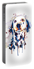 Portable Battery Charger featuring the mixed media Dalmatian Head by Marian Voicu