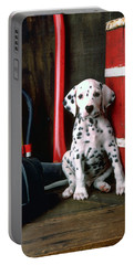Dalmatian Puppy With Fireman's Helmet  Portable Battery Charger
