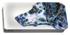 Portable Battery Charger featuring the painting Dalmatian by Zaira Dzhaubaeva
