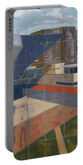 Portable Battery Charger featuring the painting Dam Museum by Erin Fickert-Rowland