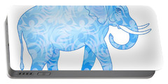 Damask Pattern Elephant Portable Battery Charger by Antique Images