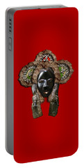 Dan Dean-gle Mask Of The Ivory Coast And Liberia On Red Leather Portable Battery Charger