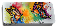 Portable Battery Charger featuring the painting Dance Of The Butterflies by Maria Barry