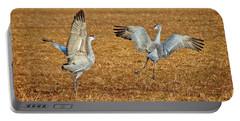Dance Ritual, Sandhill Cranes Portable Battery Charger