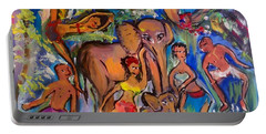 Dance With Elephants  Portable Battery Charger by Judith Desrosiers