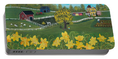 Portable Battery Charger featuring the painting Dancing Daffodils by Virginia Coyle