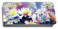 Portable Battery Charger featuring the painting Dancing Daisies by Kathy Braud