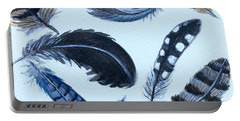 Portable Battery Charger featuring the painting Dancing Feathers by Elizabeth Robinette Tyndall