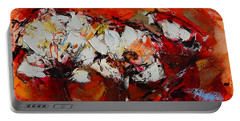 Portable Battery Charger featuring the painting Dancing Flowers by Elise Palmigiani