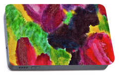 Portable Battery Charger featuring the painting Dancing Flowers by Joan Reese