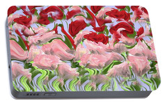 Portable Battery Charger featuring the painting Dancing In The Garden by David Dehner