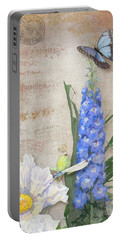Dancing In The Wind - Damselfly N Morpho Butterfly W Delphinium Portable Battery Charger