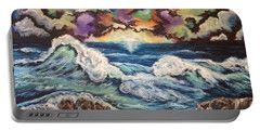 Portable Battery Charger featuring the painting Dancing Skies 3 by Cheryl Pettigrew