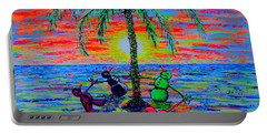 Portable Battery Charger featuring the painting Dancing Snowman by Viktor Lazarev