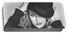 Dancing Woman Wearing Retro Theatre Hat Portable Battery Charger
