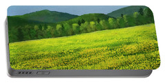 Portable Battery Charger featuring the painting Dandelion Bloom by Frank Wilson