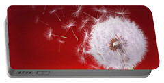 Dandelion Flying On Reed Background Portable Battery Charger