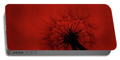 Dandelion Silhouette On Red Textured Background Portable Battery Charger