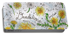 Portable Battery Charger featuring the painting Dandelions by Monique Faella