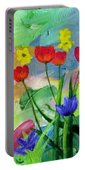 Portable Battery Charger featuring the painting Daria's Flowers by Jamie Frier