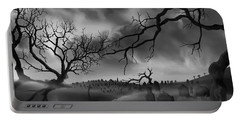 Portable Battery Charger featuring the painting Dark Cemetary by James Christopher Hill