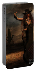 Portable Battery Charger featuring the digital art Dark Desert Highway by Shanina Conway
