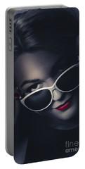 Dark Fashion Portrait. Female Model In Sunglasses Portable Battery Charger