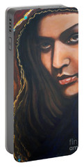 Portable Battery Charger featuring the painting Dark Latin Eyes by Sigrid Tune