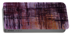 Portable Battery Charger featuring the painting Dark Lines Abstract And Minimalist Painting by Ayse Deniz