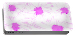 'dark Pink And White Flower Abstract' Portable Battery Charger
