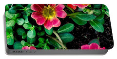 Dark Pink Purselane Flowers Portable Battery Charger