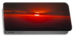 Dark Red Sun In Vogelsberg Portable Battery Charger