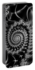 Portable Battery Charger featuring the digital art Dark Spirals - Fractal Art Black Gray White by Matthias Hauser