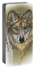 Dark Wolf With Birch Portable Battery Charger