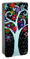 Portable Battery Charger featuring the painting Darkness Of Light by Pristine Cartera Turkus