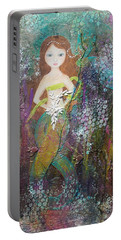 Portable Battery Charger featuring the mixed media Daughter Of The Sea by Virginia Coyle